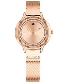 Tommy Hilfiger Women's Olivia Rose Gold-Tone Bangle Bracelet Watch 32mm