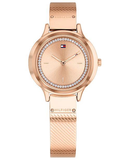 c9d6157d11 Tommy Hilfiger Women's Rose Gold-Tone Bangle Bracelet Watch 32mm ...