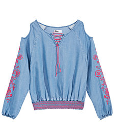 Epic Threads Big Girls Floral Embroidered Long Sleeve Shirt