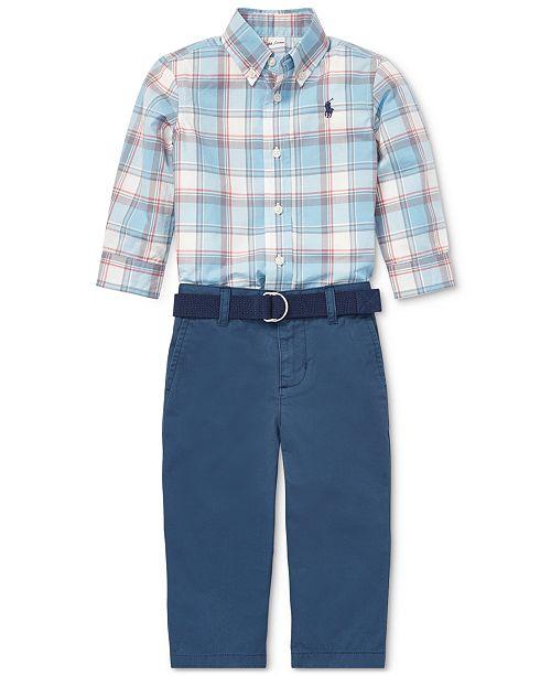 4b47cfcf58a9 Polo Ralph Lauren Baby Boys Plaid Shirt   Chino Pants Set   Reviews ...