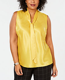 Kasper Plus Size Tie-Neck Top