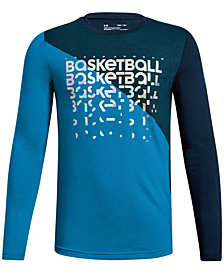 Under Armour Big Boys Basketball-Print Colorblocked T-Shirt