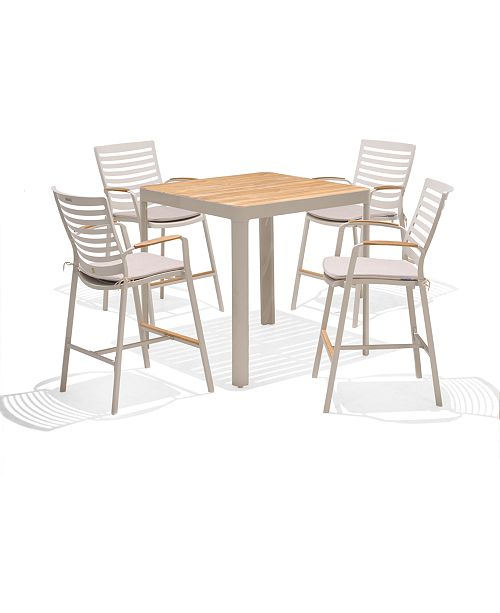 Furniture Modern Tropic Teak Outdoor 5 Pc Bar Set Table 4