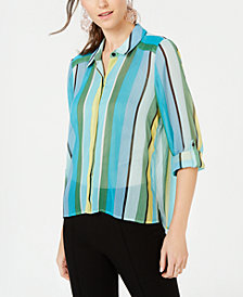 I.N.C. Petite Vertical-Stripe Button-Up Shirt, Created for Macy's
