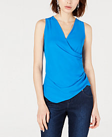 Bar III Draped Faux-Wrap Top, Created for Macy's