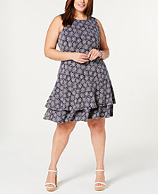 MICHAEL Michael Kors Plus Size Printed Ruffled Sleeveless Dress