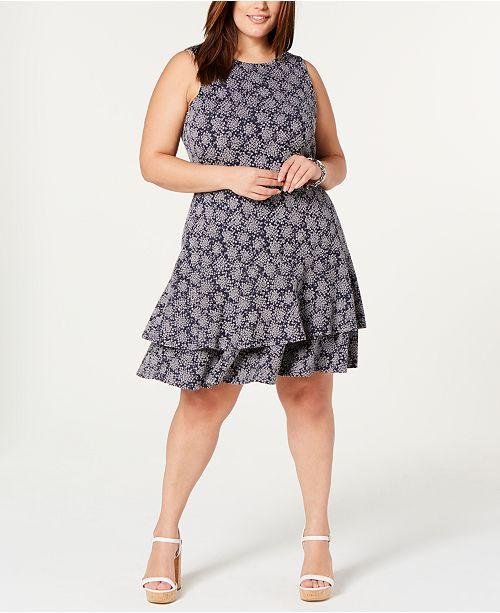 Michael Kors Plus Size Printed Ruffled Sleeveless Dress & Reviews ...