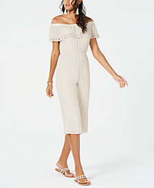 Thalia Sodi Off-The-Shoulder Cropped Jumpsuit, Created for Macy's