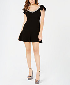 Rachel Zoe Embellished-Neck Fifi Flounce Dress