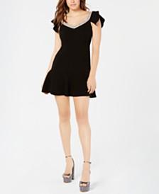 Rachel Zoe Embellished-Neck Fifi Flounce Dress