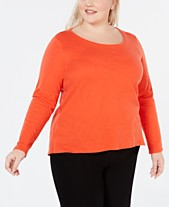 4bf52d16c71 Eileen Fisher Plus Size Scoop-Neck Organic Cotton Top
