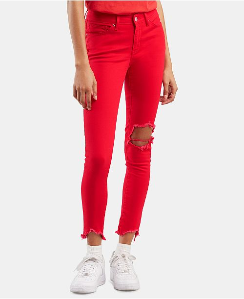 Levi's 711 Ripped Skinny Ankle Jeans