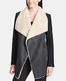 Calvin Klein Open-Front Jacket With Faux-Fur Trim