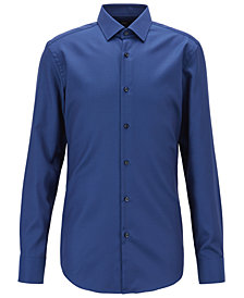 BOSS Men's Slim Fit Micro-Pattern Cotton Shirt
