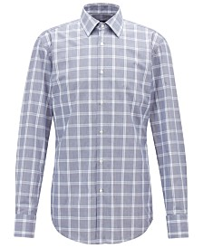 BOSS Men's Slim Fit Checked Cotton Shirt