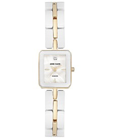 Women's Diamond Accent White Ceramic and Gold-Tone Bracelet Watch 19x23mm