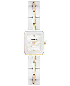 Anne Klein Women's Diamond Accent White Ceramic and Gold-Tone Bracelet Watch 19x23mm
