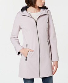 Calvin Klein Petite Hooded Water-Resistant Raincoat