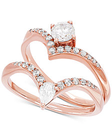 Diamond Two-Stone Bridal Set (3/4 ct. t.w.) in 14k Rose Gold