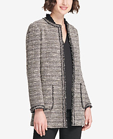 DKNY Tweed Long Open-Front Jacket, Created for Macy's
