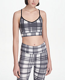 DKNY Eclipse Plaid Sports Bra, Created for Macy's