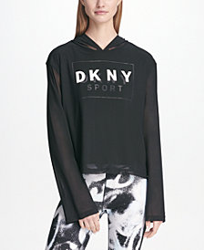 DKNY Sport Logo Mesh-Overlay Bell-Sleeve Hoodie, Created for Macy's