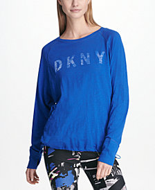 DKNY Sport Cotton Logo Long-Sleeve T-Shirt, Created for Macy's