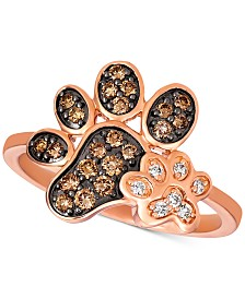 Le Vian® Nude & Chocolate Diamond Paw Prints Ring (3/8 ct. t.w.) in 14k Rose Gold