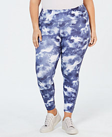 Ideology Plus Size Cloudy Night Printed Leggings, Created for Macy's