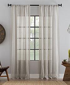 "Archaeo Ticking Stripe Textured Cotton Blend Sheer Curtain, 54"" W x 84"" L"