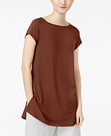 Eileen Fisher Stretch Jersey Boat-Neck Cap-Sleeve Tunic, Regular & Petite