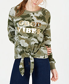 Rebellious One Juniors' Good Vibes Tie-Front Sweatshirt