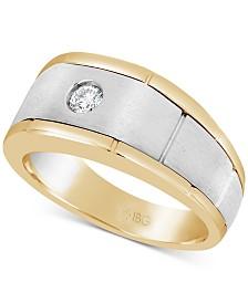 Men's Diamond Two-Tone Ring (1/6 ct. t.w.) in 10k Gold & White Gold