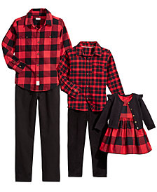 Carter's & Tommy Hilfiger Girls & Boys Holiday Family Red Buffalo Plaid Separates