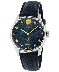 93a3145ae26a4f Gucci Unisex Swiss Automatic G-Timeless Blue Leather Strap Watch 40mm