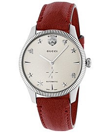 Unisex Swiss Automatic G-Timeless Red Leather Strap Watch 40mm