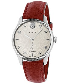 072fa8e2bd9efa Gucci Unisex Swiss Automatic G-Timeless Red Leather Strap Watch 40mm