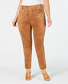 Plus Size Faux-Suede Pants