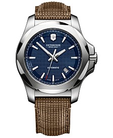 Victorinox Swiss Army Men's Swiss Automatic I.N.O.X. Brown Wood Leather Strap Watch 43mm
