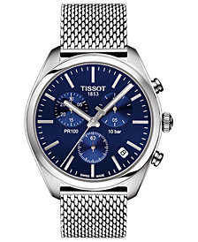 Tissot Men's Swiss Chronograph PR 100 Stainless Steel Mesh Bracelet Watch 41mm