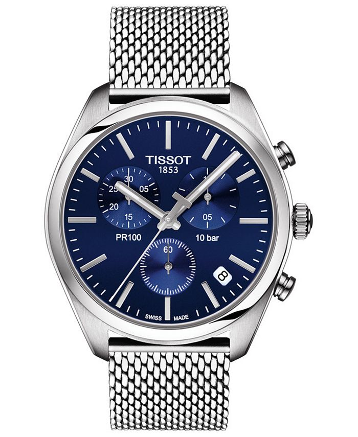 Tissot - Men's Swiss Chronograph PR 100 Stainless Steel Mesh Bracelet Watch 41mm