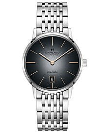 Men's Swiss Automatic Intra-Matic Stainless Steel Bracelet Watch 38mm