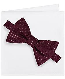 Michael Kors Men's Formal Party Pindot Bow Tie & Pocket Square Set