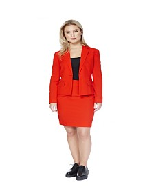 OppoSuits Women's Red Ruby Solid Suit