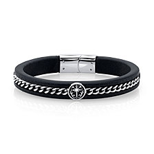 He Rocks Black Leather and Cross Design Stainless Steel Chain Bracelet, 8.5""