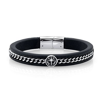 He Rocks Black Leather And Cross Design Stainless Steel Chain