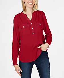 Charter Club Knit-Back Utility Shirt, Created for Macy's