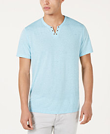 I.N.C. Men's Split-Neck Striped Speckled T-Shirt, Created for Macy's