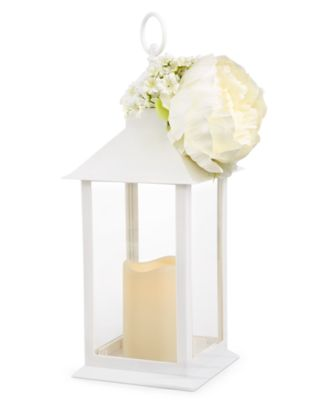 Spring White Lantern with Artificial Flower, Created for Macy's