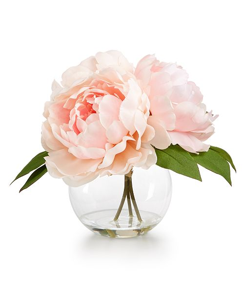 ... Martha Stewart Collection Spring Pink Peony Artificial Flower Arrangement in Glass Vase, Created for Macy's ...